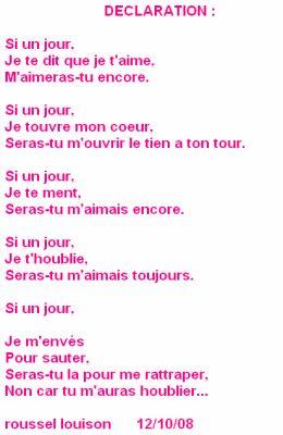 Déclaration Poeme Damour Poeme Toujours
