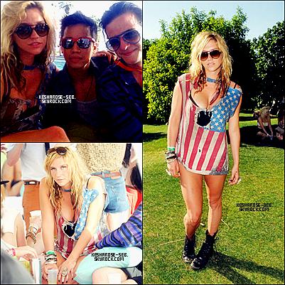 """~ Hier , notre sublime Kesha était à l'Hôtel Ace à Palm Springs , en Californie , pour ce faire photographié à la Converse Lounge.# ~ Par la suite , la belle c'est rendu à la deuxième journée de """" LACOSTE L!VE """" à l'occasion de Coachella 2011 thermique , toujours en Californie.#"""