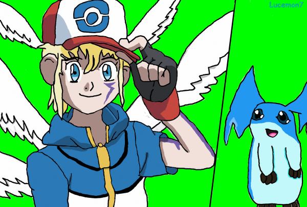 Le digi-dresseur pokémon (Lucemon7) et le patamon bleu (AquaPatamon)