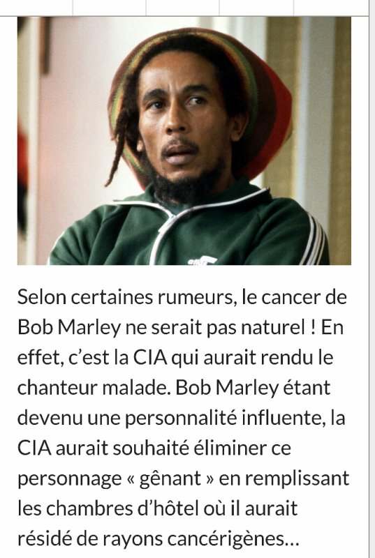 Scandalous if this information is the trueThey  killed my love  Bob  Marley