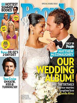 """La première photo du mariage de Matthew McConaughey et Camila Alves en une du magazine US """"People"""""""