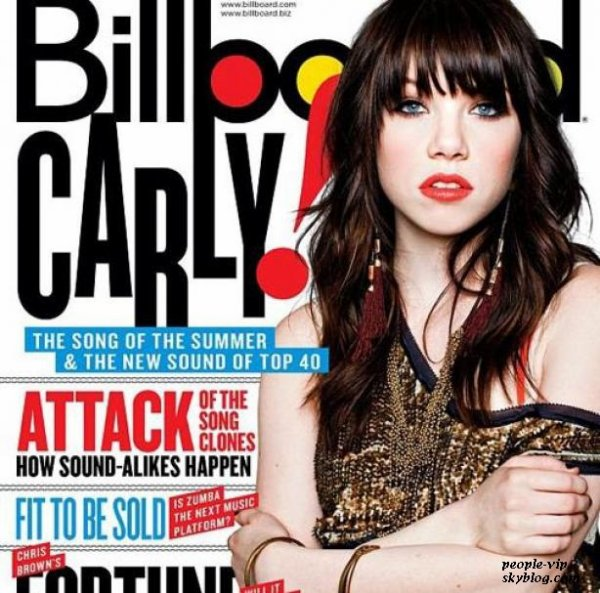 Carly Rae Jepsen en couverture du magazine US, Billboards Magazine.