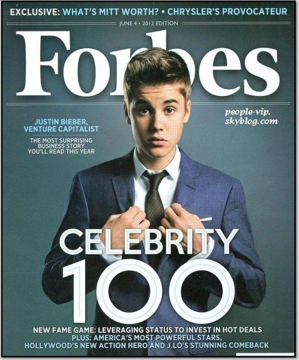 Justin Bieber en couverture de Forbes.