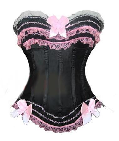corset noir et rose
