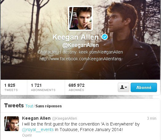 Keegan Allen (Toby Cavanaugh) sera à Toulouse pour la convention de Royal Events !