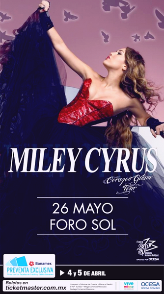 -      01 Avril 2011 -      -----Tournée----- Affiche officiel de la tournée de Miley au Bresil.   -  ----  Youtube  ---- Mileyraycyrus-france