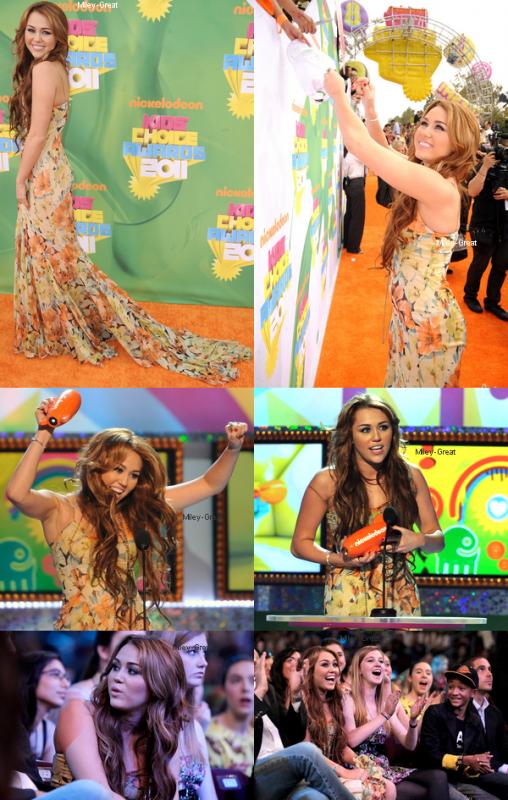 """-      02 Avril 2011 -      -----Cérémonie----- Miley était présente au KCA hier soir, elle a reçut le prix de «Meilleure actrice féminine» grâce au film """"The Last Song"""".   -  ----  Youtube  ---- Mileyraycyrus-france"""