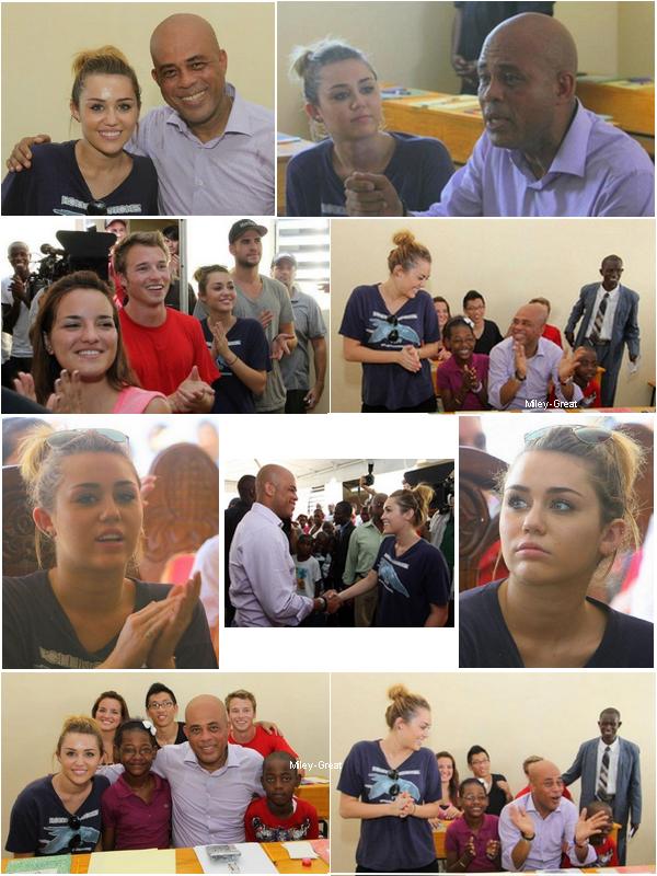 04.10.11 Miley à Haïti - C'est après être parti un week-end à Nashville pour se rendre au mariage de son oncle que depuis le 04 octobre dernier Miley, Liam et l'association StarkeyHearing se sont rendus à Haïti pour une deuxième mission humanitaire. Elle y était déjà aller après le tremblement de terre avec la même association. Miley à l'air très heureuse de pouvoir y retourner. Nous ne savons pas combien de jours Miley va y rester.