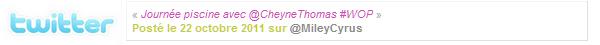 21.10.11 Miley et Cheyne Thomas chez Trader's Joe. - Miley et Cheyne Thomas (ami et danseur de Miley) se sont rendu chez Trader's Joe faire quelques course. D'après le Tweet de Miley, ils seraient aussi aller à la piscine. Miley était très souriante et surement très heureuse de faire cette sortie avec son ami. J'aime bien sa tenue, on va dire que c'est sont style 'normal', malgré le jean troué que je n'aime pas ^^ C'est un TOP !