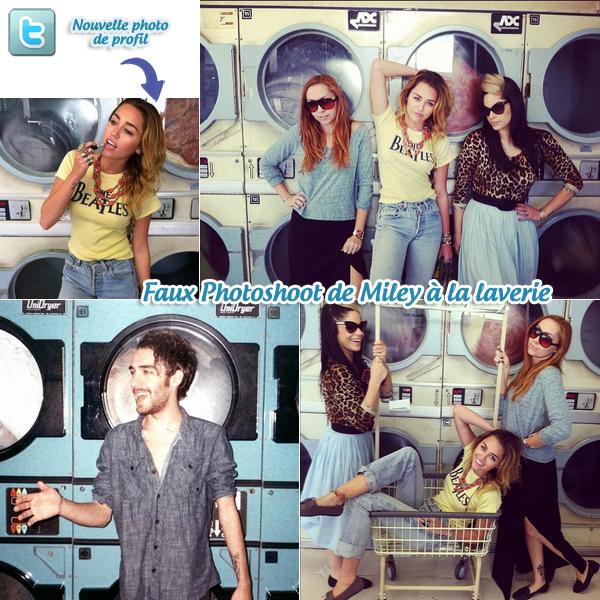 27.12.11   Miley, Brandi, Denika et Cheyne à la laverie pour un faux-photoshoot. -  On pourrait croire à un vrai photoshoot vintage de Miley avec sa soeur Brandi, Denika et Cheyne à la laverie mais non. Ils se sont simplement amusés a se prendre en photo le temps que leurs machines se termine. Je trouve les photos super belles, Miley en a d'ailleurs mise une en photo de profil Twitter. J'aime bien sa tenue, elle est spécial mais elle va très bien avec le genre de photos qu'ils ont fait donc c'est un TOP. De plus nous avons enfin une sortie et officielle pour la sortie de LOL : Made In USA, celle ci est annoncé pour le 20 juin 2012. On est un des derniers pays à pouvoir le voir. La sortie mondiale sera le 09 février 2012 ! (Enfin ^^)