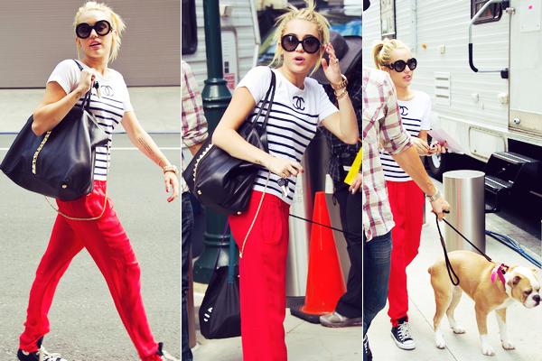 Le 21 juillet 2012 Miley est aller rendre visite à Liam sur le tournage de Paranoia.  Sa tenue est original, mais son pantalon fait assez sport ce qui est dommage.  -