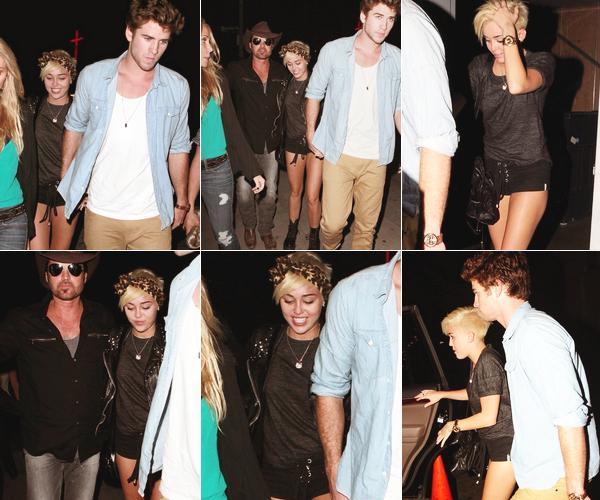 Le 31 août 2012 Miley à West Hollywood avec ses parents et Liam.  Miley et Liam sont allés voir Billy Ray à un de ses concerts accompagnée de Tish, la mère de Mil'.   -