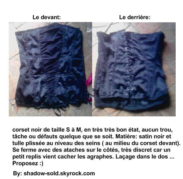 Corset noir en soie et tulle / taille S-M.