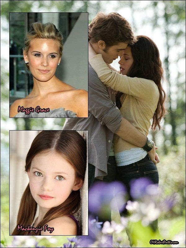 """____ Renesmée is born ! Twilight ! ____ Premièrement, Maggie Grace signe le contrat pour jouer le rôle d'Irina. Et EW.com a appris que la petite fille de 9 ans, Mackenzie Foy, est sur le point de signer le contrat pour jouer Renesmée, la fille de Bella et d'Edward. Car elle est un rôle central dans le dernier volet de la saga Twilight : Breaking Dawn. Ce n'est pas encore clairemet définitif, car rappelez-vous que la petite Renesmée doit paraître âgée de 17ans, alors qu'elle n'en a que sept. Certaines sources ont suggéré que le réalisateur Bill Condon emploiera les mêmes effets numériques que celles utilisées par David Fincher dans """"L'Etrange histoire de Benjamin Button"""", et dans ce cas-là, le visage de Mackenzie Foy serait transféré numériquement sur le visage d'une jeune enfant. Il est également probable que le studio embauche une jeune enfant dans une certaine mesure. Cependant, Summit Entertainment est resté muet sur la question. ___ Alors, pensez-vous que la petite Mackenzie a un visage assez angélique pour jouer la descendante du sublime Edward Cullen et de la tendre Bella Swan ? ____"""