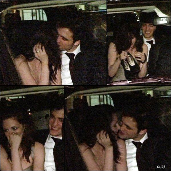 ____ 17 Avril 2011 | Robert et Kristen s'embrassent dans leur voiture. Le baiser ! ____ ♣ Bon, après tout, ce n'est pas comme si cela faisait 140 000 ans que les 'Pro-Robsten' attendaient d'avoir une preuve concrète de leur amour secret. C'est-il pas mignon tout ça ?! Et là, on peut dire que les tourtereaux ne se loupent pas dans leur voiture, à la vue de tous les paparazzis en chaleur ! Tant mieux pour eux, tant mieux pour nous. Bon, ils sont quand même pudiques, ils se cachent un peu. Mais on ne va pas trop leur en demander tout de même. On a déja de quoi être 'content'.  ____