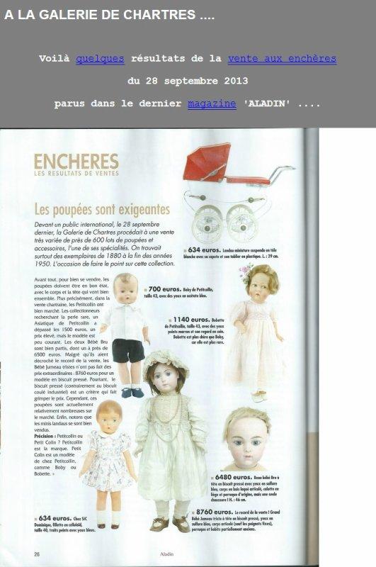les prix des poupées à la vente de Chartres.