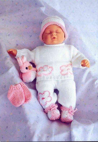 tuto tricot : un ensemble blanc et rose.