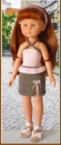 tuto tricot: ensemble jupe fendue et petit haut pour poupée chérie.