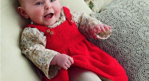 tuto tricot : robé bébé en jersey et point de riz.