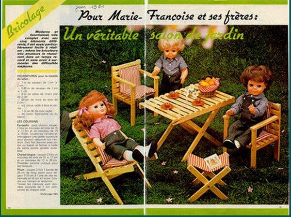 tuto bricolage: un mobilier de jardin pour poupée Marie-françoise.