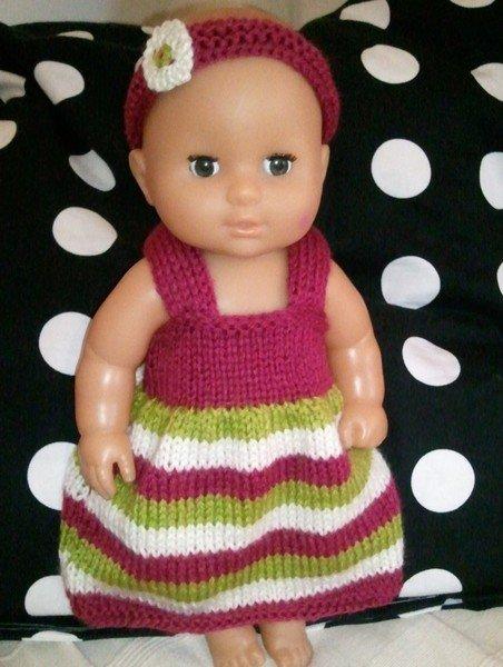 tuto tricot : robe et bandeau pour poupée.