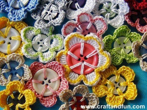 tuto crochet: pour décorer des boutons.