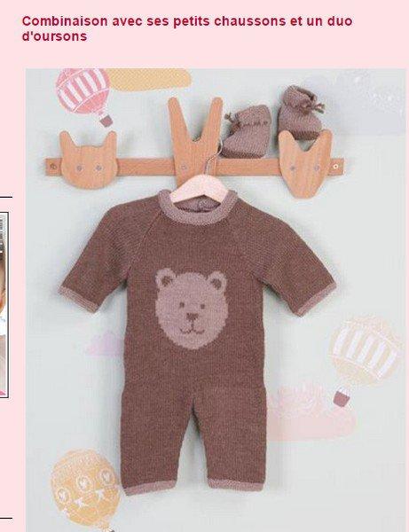 tuto tricot : Combinaison avec ses petits chaussons et un duo d'oursons