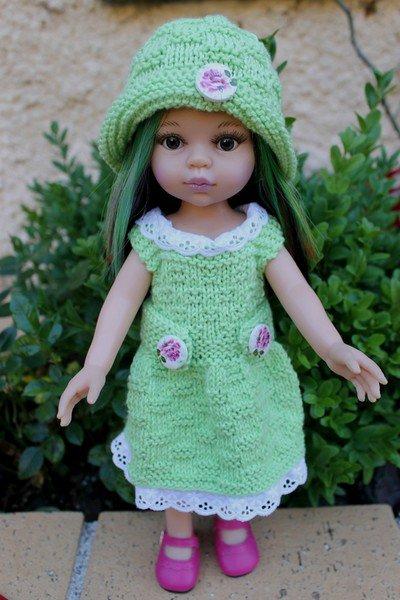 tuto tricot : robe et chapeau poupée.