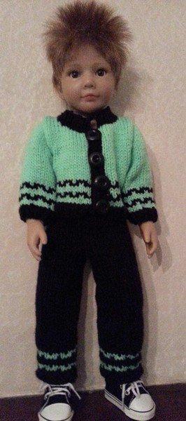tuto tricot poupée : pantalon et gilet pour petit gars.