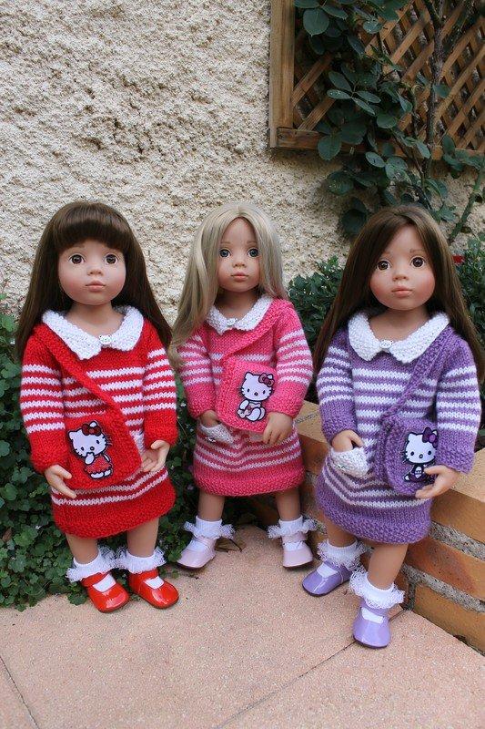 tuto tricot : robe rayée et sac hello kitty.