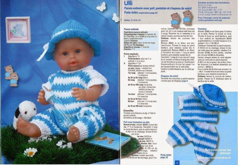 tuto tricot : ensemble rayé poupon
