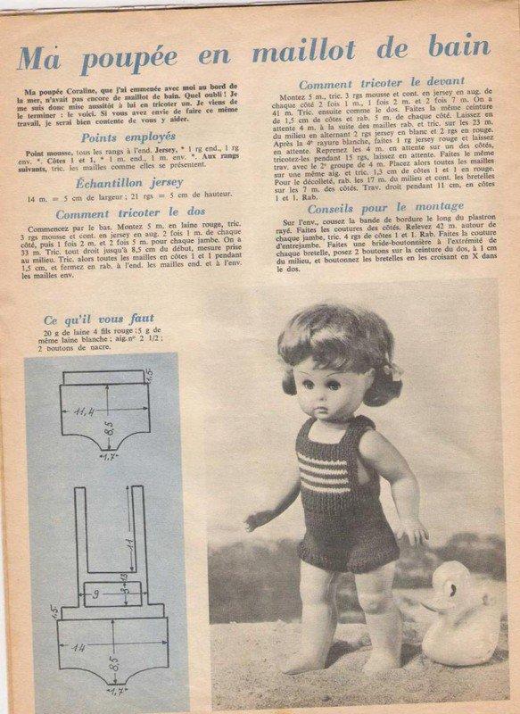 tuto tricot : maillot de bain pour poupée