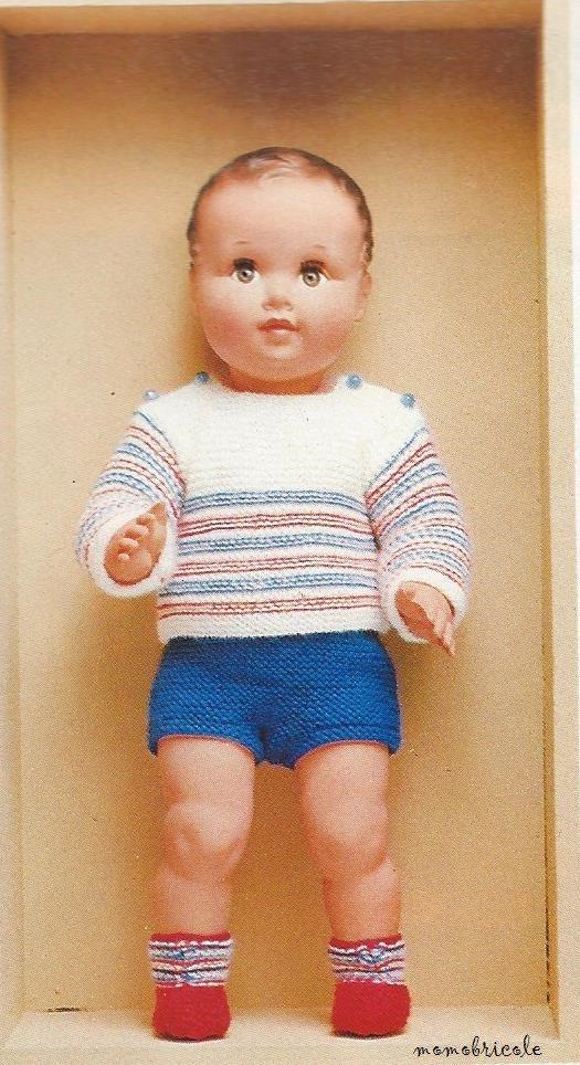 tuto tricot : ensemble pour baigneur de 50 cm.
