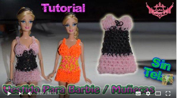 tuto robes et chaussures pour barbie avec des élastiques.