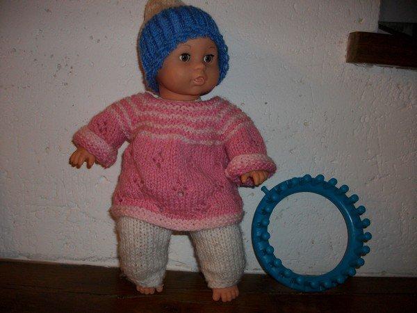 premier essai au tricotin circulaire.