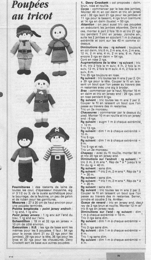 tuto : poupées au tricot 3davy crockett