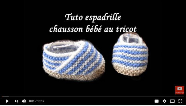 tuto tricot : chaussons espadrille