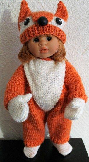 tuto tricot : tenue renard pour poupée.