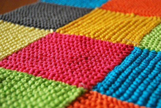 tuto tricot : Tricoter une couverture décorative avec des restes de laine
