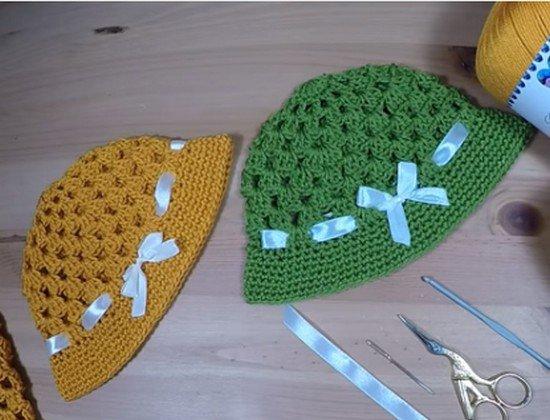 tuto crochet : robe et chapeau en granny , toute taille.