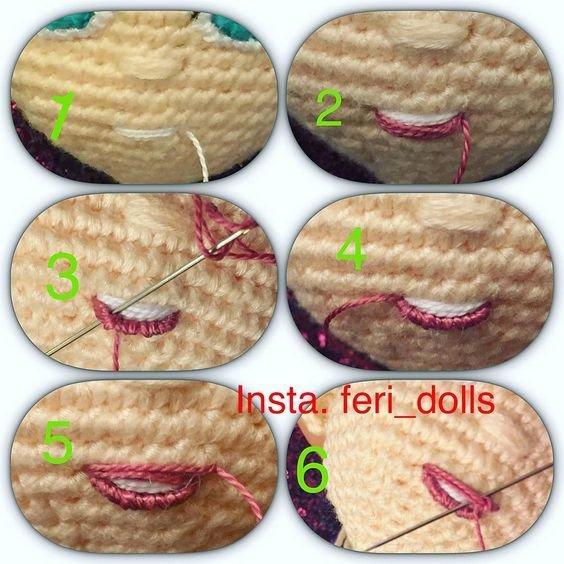 tuto : yeux et bouche pour poupées en laine ou crochet.