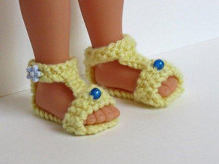 tuto tricot : sandales pour poupée.
