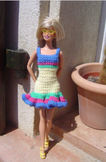 tuto crochet : robe pour Barbie.