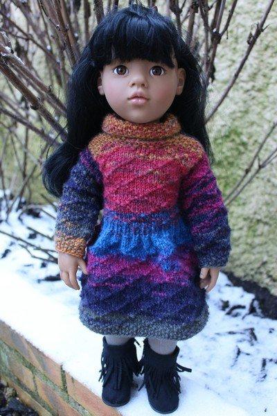 tuto tricot : robe hiver pour poupée de 50 cm.