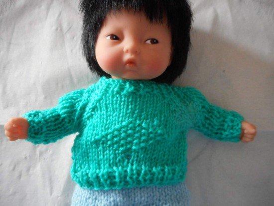 tuto tricot : pull pour poupon de 20 cm.