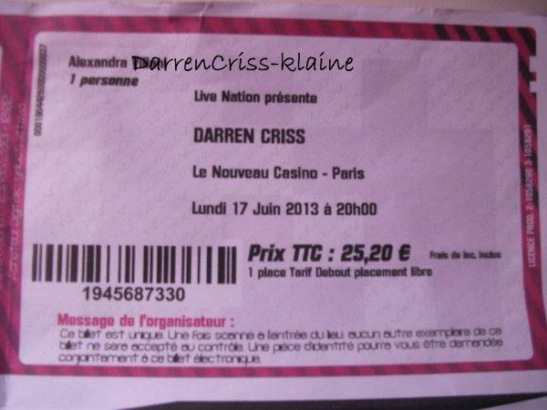 Concert de Darren à Paris