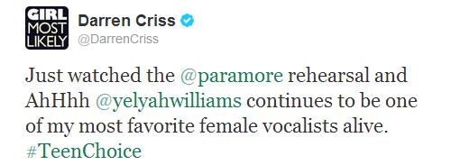 Tweet de Darren sur Paramore