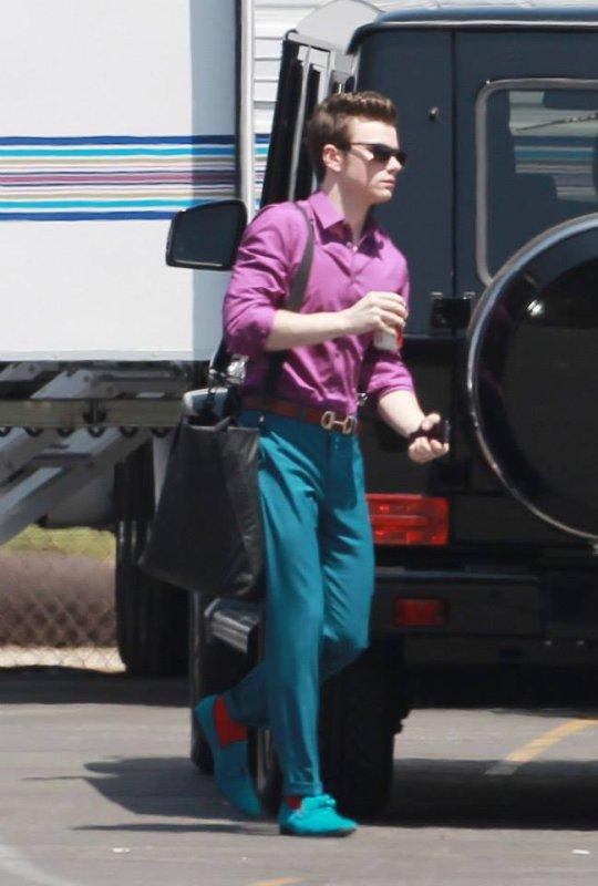 Chris sur le tournage de Glee saison 5