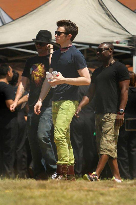 Chris Colfer sur le tournage de Glee saison 5