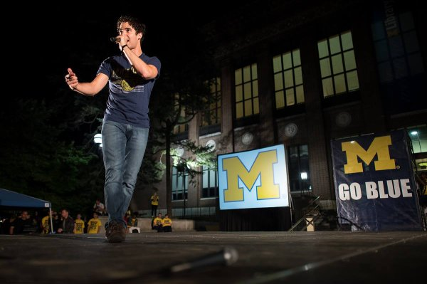 "Darren au ""Pep Rally"" de l'université du Michigan le 06/09/2013"
